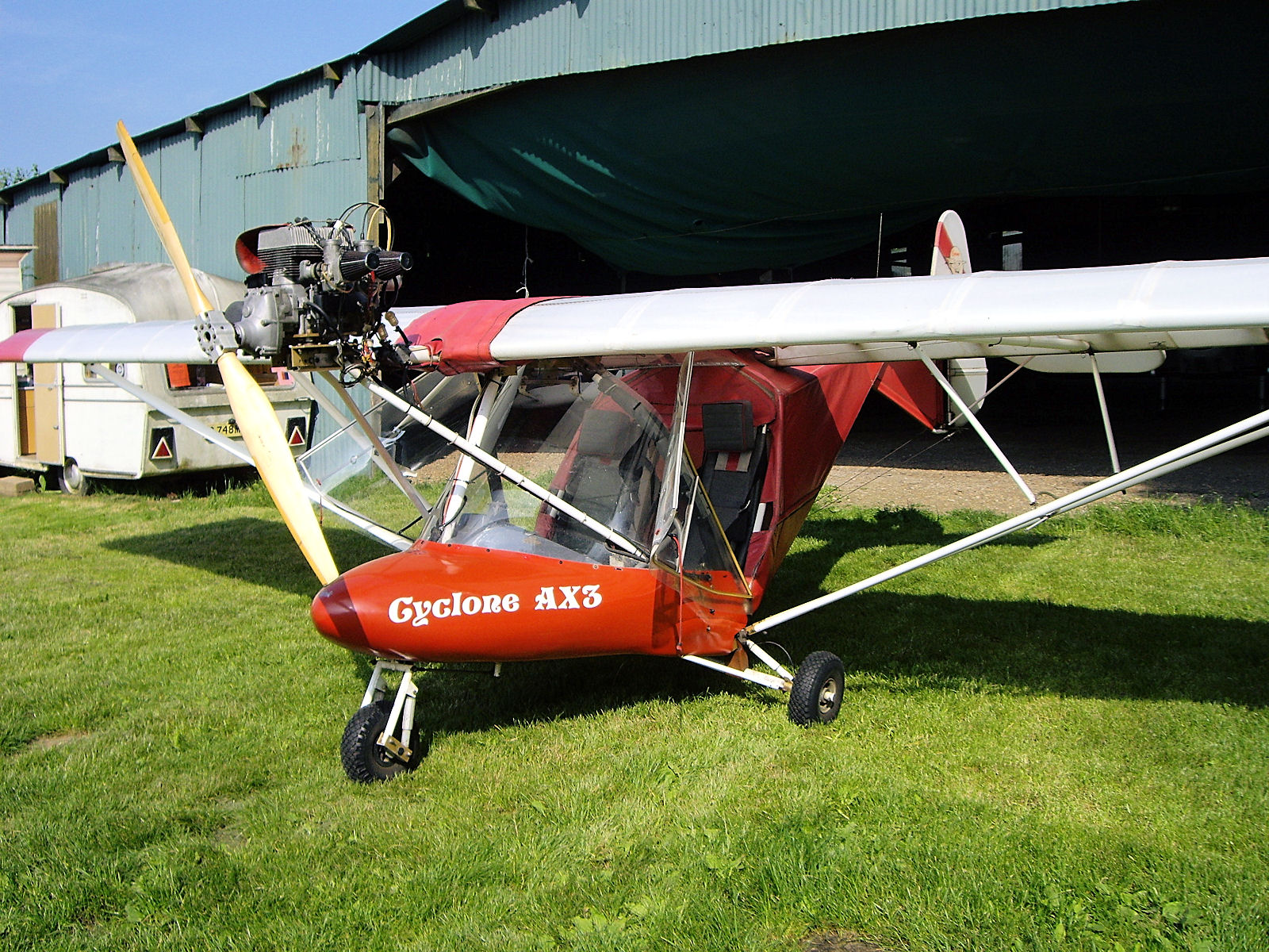 Cyclone AX3 G-MYRO at Clipgate Farm
